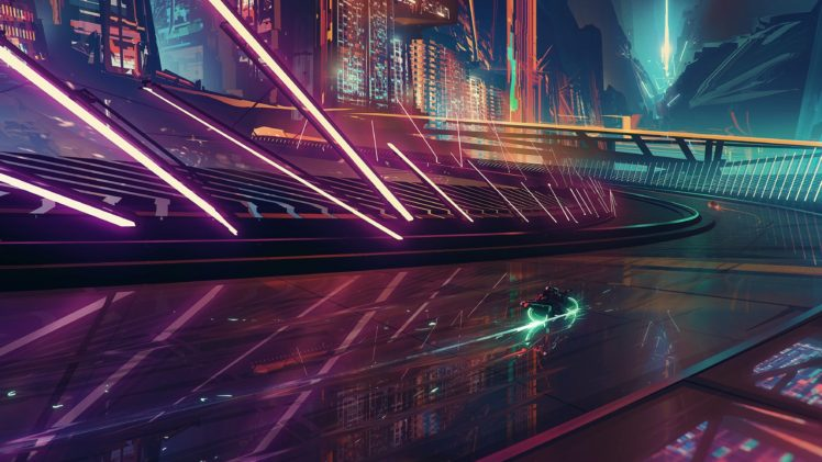 Science Fiction Cyberpunk Motorcycle Cityscape Neon Futuristic City HD Wallpaper Desktop