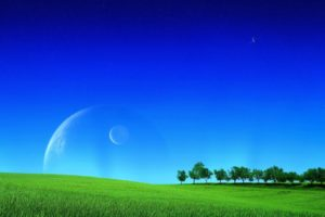 field, Grass, Moonlight, Sky, Planet