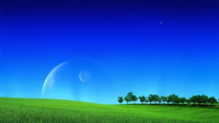 field, Grass, Moonlight, Sky, Planet HD Wallpaper Desktop Background