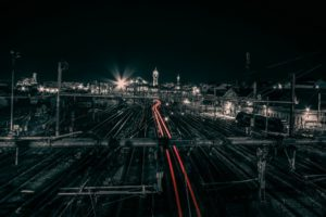 Limoges, France, Train station, Light trails