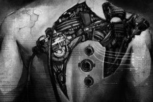 Klayton, Circle of Dust, Monochrome, Robot, Wires, Cyberpunk