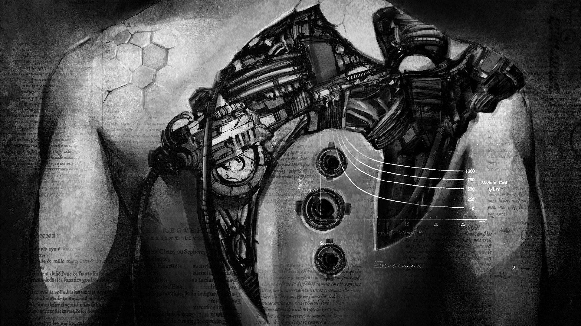 Klayton, Circle of Dust, Monochrome, Robot, Wires, Cyberpunk Wallpaper