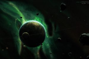 Taenaron, 3D, Space, Green, Planet, Space art