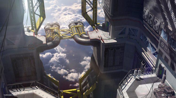 factories, Science fiction, Futuristic, Sky HD Wallpaper Desktop Background