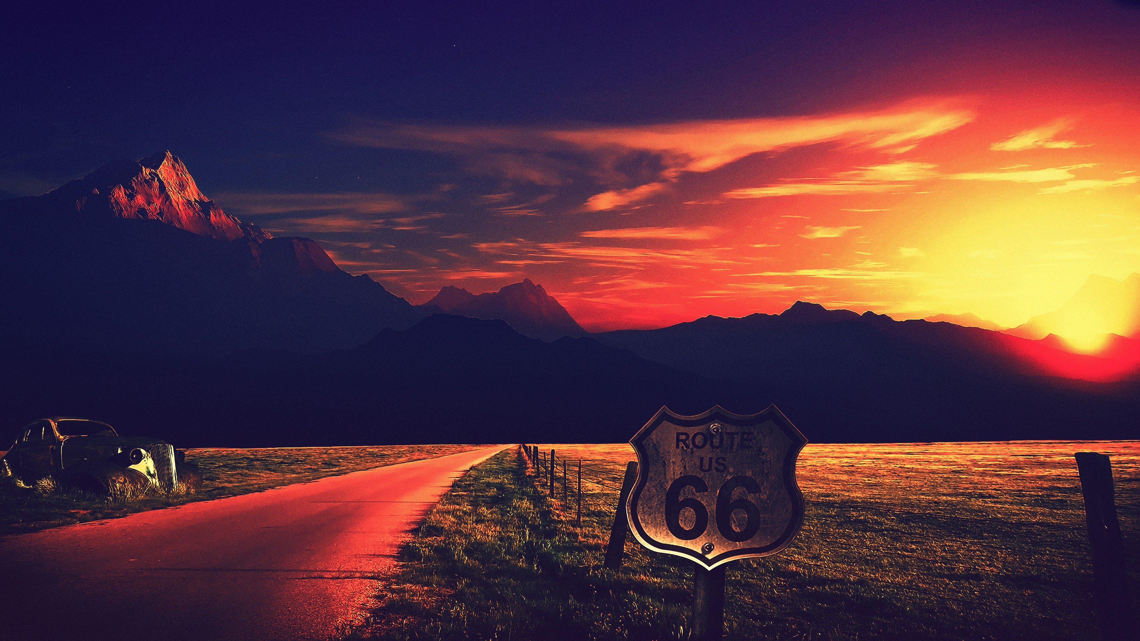 road, Route 66, USA, California, Desert, Sand HD ...  road, Route 66,...