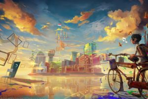 digital art, Fantasy art, Painting, DeviantArt, Bicycle, Futuristic, Clouds, Building, City, Flag, Reflection, Chair, Surreal, Colorful, Musical notes, Birds