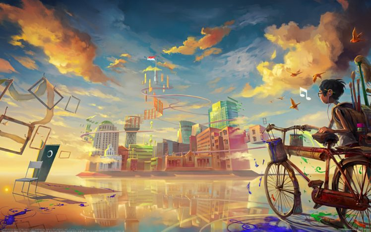 digital art, Fantasy art, Painting, DeviantArt, Bicycle, Futuristic, Clouds, Building, City, Flag, Reflection, Chair, Surreal, Colorful, Musical notes, Birds HD Wallpaper Desktop Background