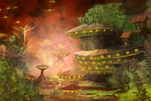 Raphael Vanhomwegen, Digital art, Fantasy art, Painting, Futuristic, Futuristic city, Village, Aliens, Trees, Nature