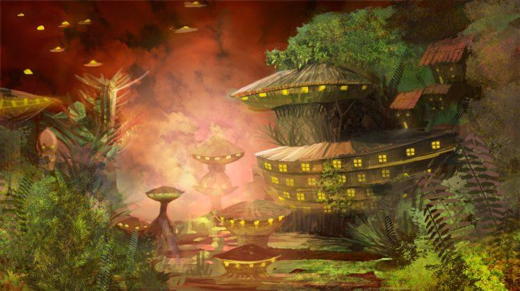 Raphael Vanhomwegen, Digital art, Fantasy art, Painting, Futuristic, Futuristic city, Village, Aliens, Trees, Nature HD Wallpaper Desktop Background