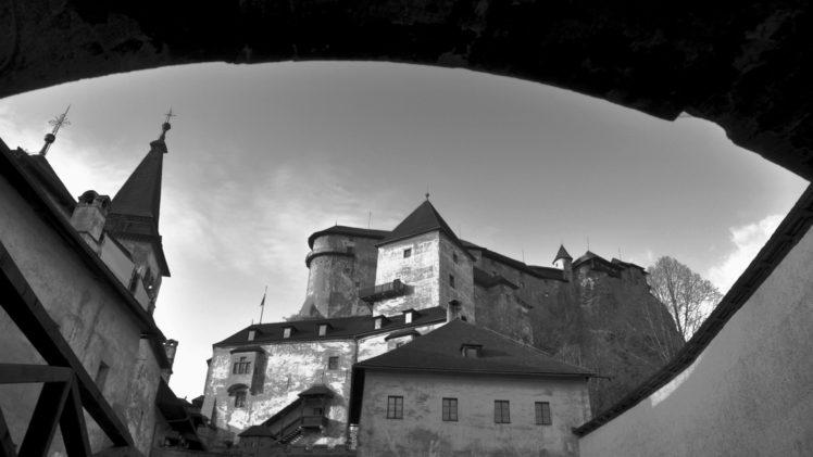 architecture, Castle, Ancient, Tower, Slovakia, Monochrome, Clouds, Arch HD Wallpaper Desktop Background