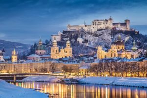 architecture, Castle, Ancient, Tower, Austria, Salzburg, Winter, Snow, River, Trees, Hills, Clouds, Evening, Reflection, Lights, Cathedral, Building, Church, Bridge, Forest