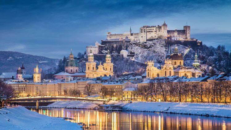architecture, Castle, Ancient, Tower, Austria, Salzburg, Winter, Snow, River, Trees, Hills, Clouds, Evening, Reflection, Lights, Cathedral, Building, Church, Bridge, Forest HD Wallpaper Desktop Background