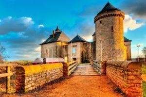 architecture, Castle, Ancient, Tower, Clouds, France, Trees, Fence, Bridge, Stones