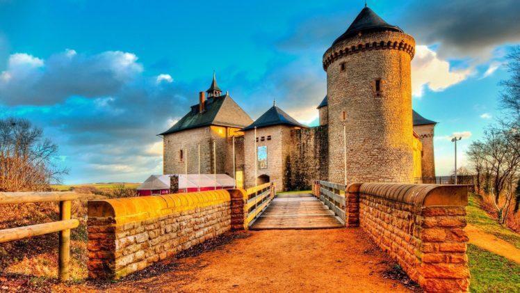 architecture, Castle, Ancient, Tower, Clouds, France, Trees, Fence, Bridge, Stones HD Wallpaper Desktop Background