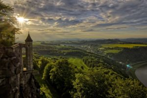 architecture, Castle, Ancient, Tower, River, Switzerland, Nature, Landscape, Sun rays, Clouds, Trees, Hills, Forest, Lens flare