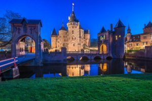 architecture, Castle, Ancient, Tower, Grass, Netherlands, Bridge, Evening, Lights, Arch, Water, Reflection