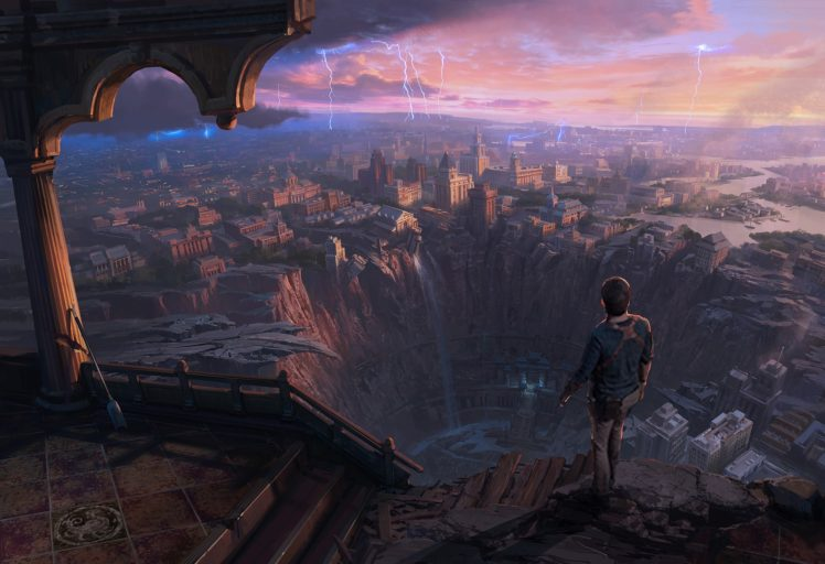 illustration, Fantasy art, Sunset HD Wallpaper Desktop Background