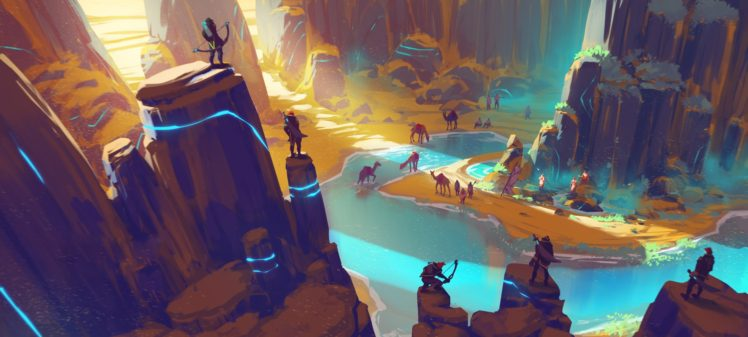 fantasy art, Water, Canyon, Duelyst, Video games, Artwork, Digital art, Concept art HD Wallpaper Desktop Background