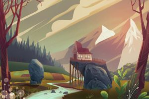 illustration, Landscape, Mountains, Snow, House, Sunset, Tree house
