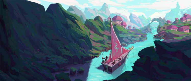 fantasy art, Mountains HD Wallpaper Desktop Background