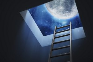 digital art, Moon, Ladders