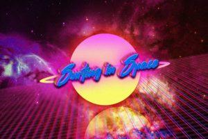 neon, Space, Vintage, Retro style, Digital art, Typography