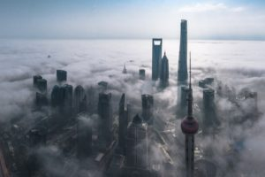 photography, Cityscape, Mist, Skyscraper, Architecture, Metropolis, Building, Morning, Sunlight, Aerial view, Shanghai, China, Panorama