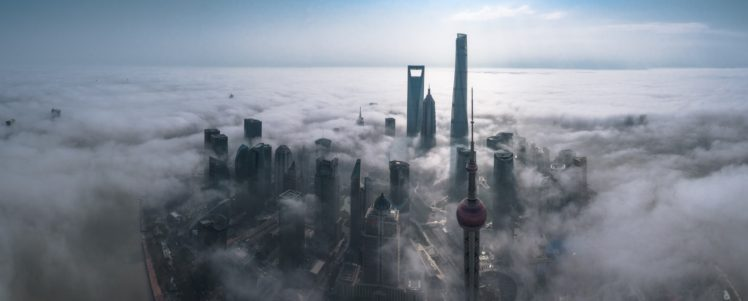 photography, Cityscape, Mist, Skyscraper, Architecture, Metropolis, Building, Morning, Sunlight, Aerial view, Shanghai, China, Panorama HD Wallpaper Desktop Background