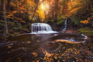 photography, Nature, Landscape, Fall, Waterfall, Forest, Sunlight, Leaves, Colorful, Long exposure, Michigan
