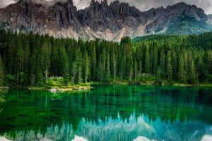 nature, Landscape, Photography, Lake, Calm waters, Reflection, Forest, Mountains, Trees, Emerald, Green, Summer, Alps, Italy
