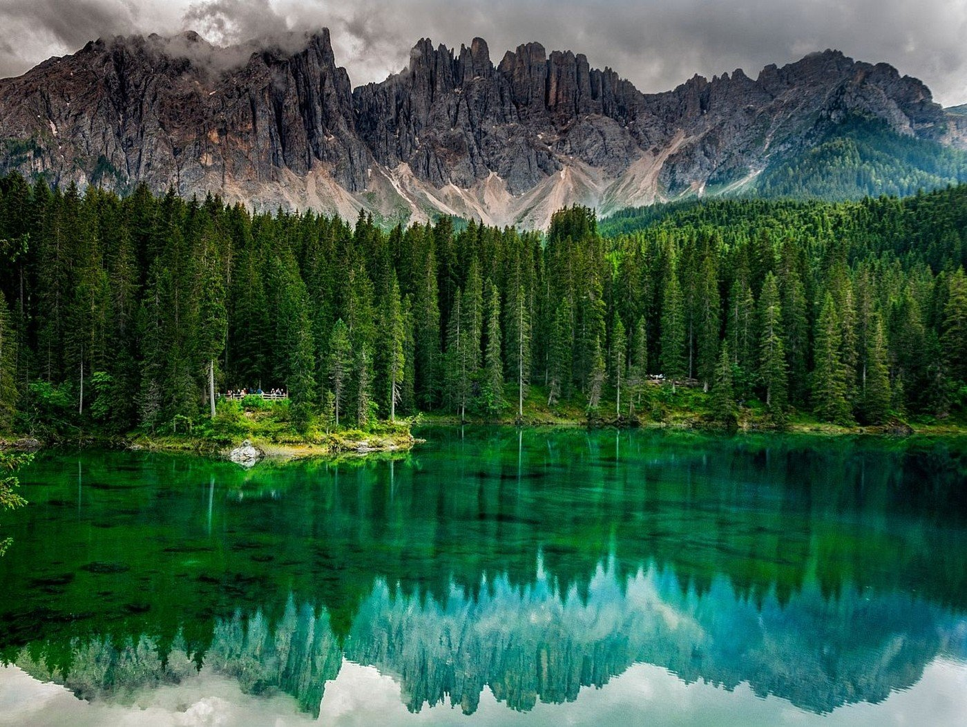 nature, Landscape, Photography, Lake, Calm waters, Reflection, Forest, Mountains, Trees, Emerald, Green, Summer, Alps, Italy Wallpaper
