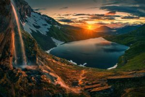 nature, Photography, Landscape, Waterfall, Lake, Mountains, Snow, Clouds, Sky, Norway, Sunrise, Hiking