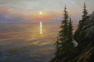 water, Sunset, Waves, Classic art