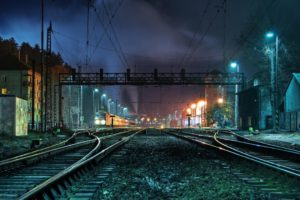train, Rail yard, Night, City, Switch