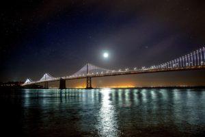 bridge, San Francisco, Water, Night sky, Lights, Moon