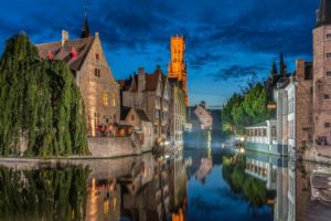 architecture, Building, Bruges, Belgium, Town, Old building, House, Tower, Ancient, Water, Trees, Night, Reflection, Clouds, Boat