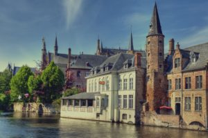 architecture, Building, Bruges, Belgium, Town, Old building, House, Tower, Ancient, Water, Trees, HDR