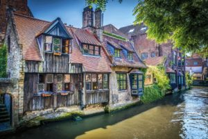 architecture, Building, Bruges, Belgium, Town, Old building, House, Tower, Ancient, Water, Wood planks, Sunlight, Leaves, Bricks