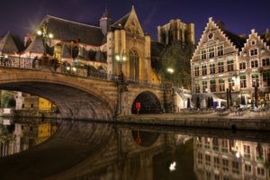 architecture, Building, Belgium, Town, Old building, House, Tower, Ancient, Water, Bridge, Night, Lights, Reflection, Cathedral, Ghent (city)