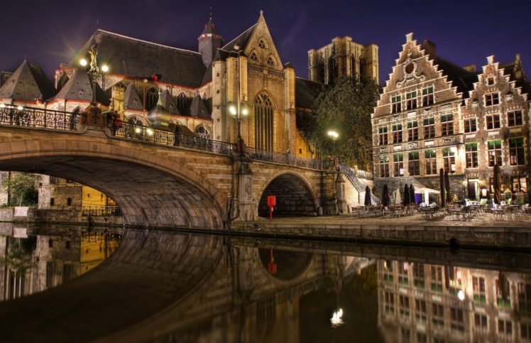 architecture, Building, Belgium, Town, Old building, House, Tower, Ancient, Water, Bridge, Night, Lights, Reflection, Cathedral, Ghent (city) HD Wallpaper Desktop Background