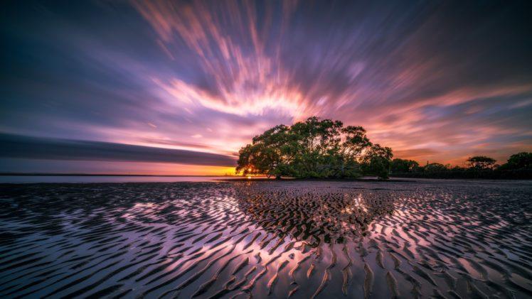 nature, Landscape, Trees, Sunset, Clouds, Long exposure, Coast, Sea, Horizon, Beach HD Wallpaper Desktop Background