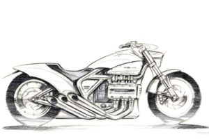 artwork, Vehicle, Motorcycle, Sketches, Honda