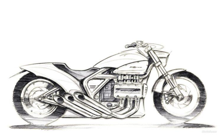 artwork, Vehicle, Motorcycle, Sketches, Honda HD Wallpaper Desktop Background