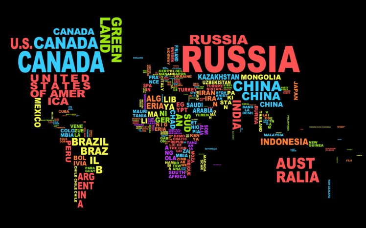 countries, Typography, World map HD Wallpapers / Desktop and Mobile ...