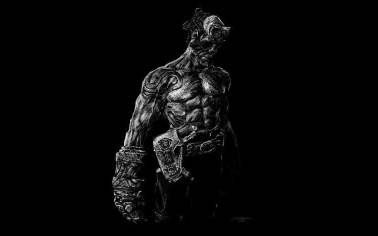 monochrome, Artwork, Minimalism, Hellboy HD Wallpaper Desktop Background