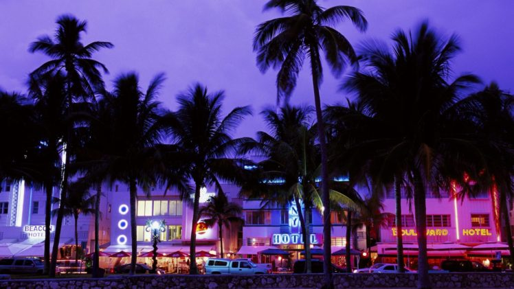 cityscape, Palm trees, Miami, Miami Beach HD Wallpaper Desktop Background