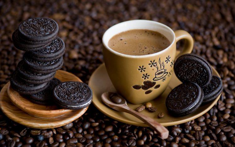 coffee, Cup, Spoons, Oreos HD Wallpaper Desktop Background