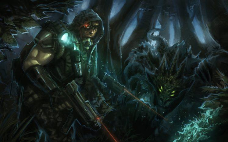 men, Artwork, Creature, Gun, Weapon HD Wallpaper Desktop Background