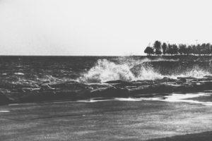 monochrome, Waves, Coast