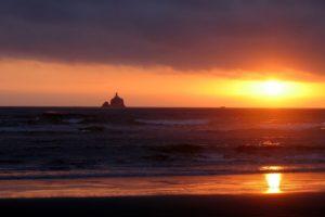 sunset, Sun rays, Beach, Lighthouse